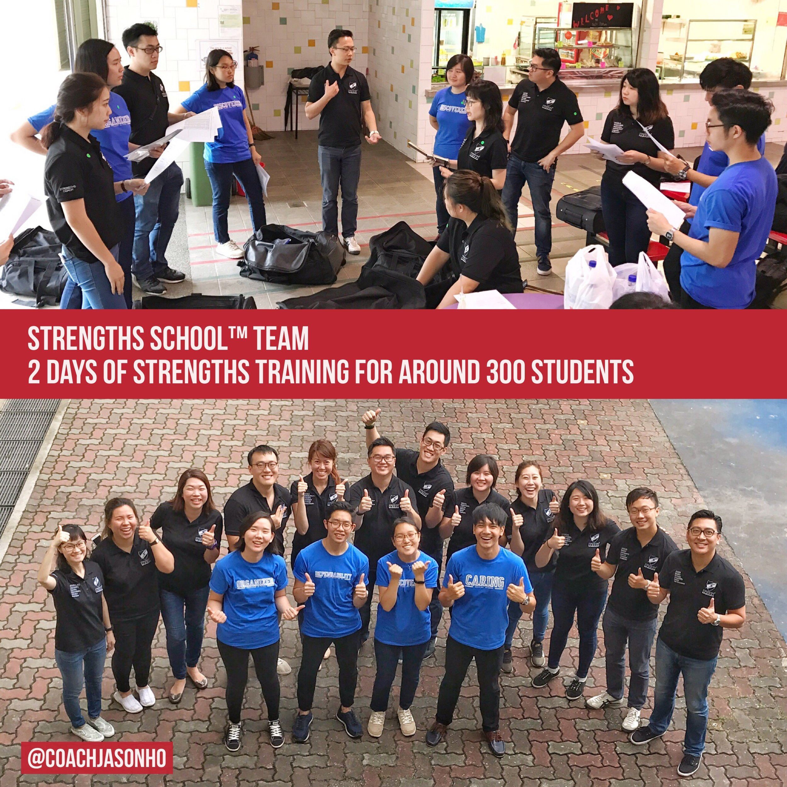 StrengthsFinder Coaches & trainers doing a strengths workshop in Singapore for around 300 students over the last 2 days