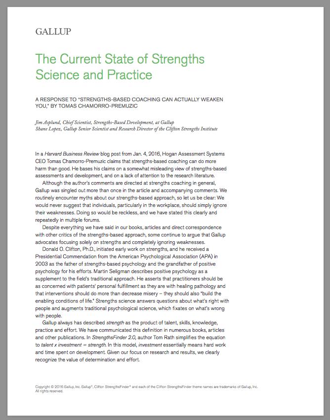 Hogan HBR Response 2016 StrengthsFinder Singapore