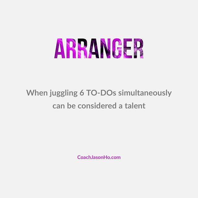 """[#CliftonStrengths] #StrengthsFinder #arranger #StrengthsFinderFun • • This is my number 24. When juggling just one thing sounds boring • • • • """"Creating the most Advanced StrengthsFinder Leadership Workshop Program in the world"""" • • #GallupStrengthsFinder #StrengthsQuest #StrengthsSchool #Gallup #StrengthsFinderSG #HumanResource #SelfImprovement #SelfDevelopment #TeamBuilding #StrengthsCoach #Leadership #ProfessionalDevelopment #StrengthsFinderCoach #CoachJasonHo Jason Ho • SouthEast Asia & Singapore's 1st Gallup Certified StrengthsFinder  Coach • Strengths School™ Singapore"""