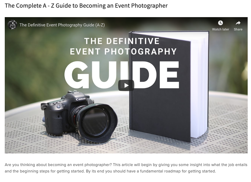 SEE MY ENTIRE GUIDE  - The most complete event photography guide to date