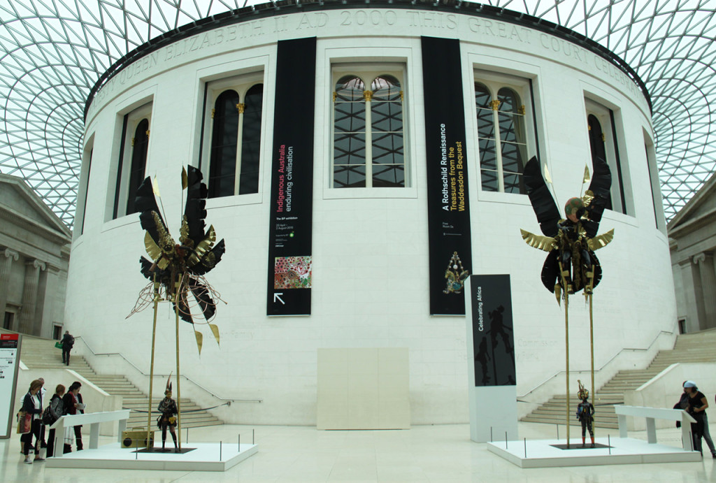 Zak Ové's Moko Jumbie displayed in the British Museum's Great Court (photo courtesy the Trustees of the British Museum