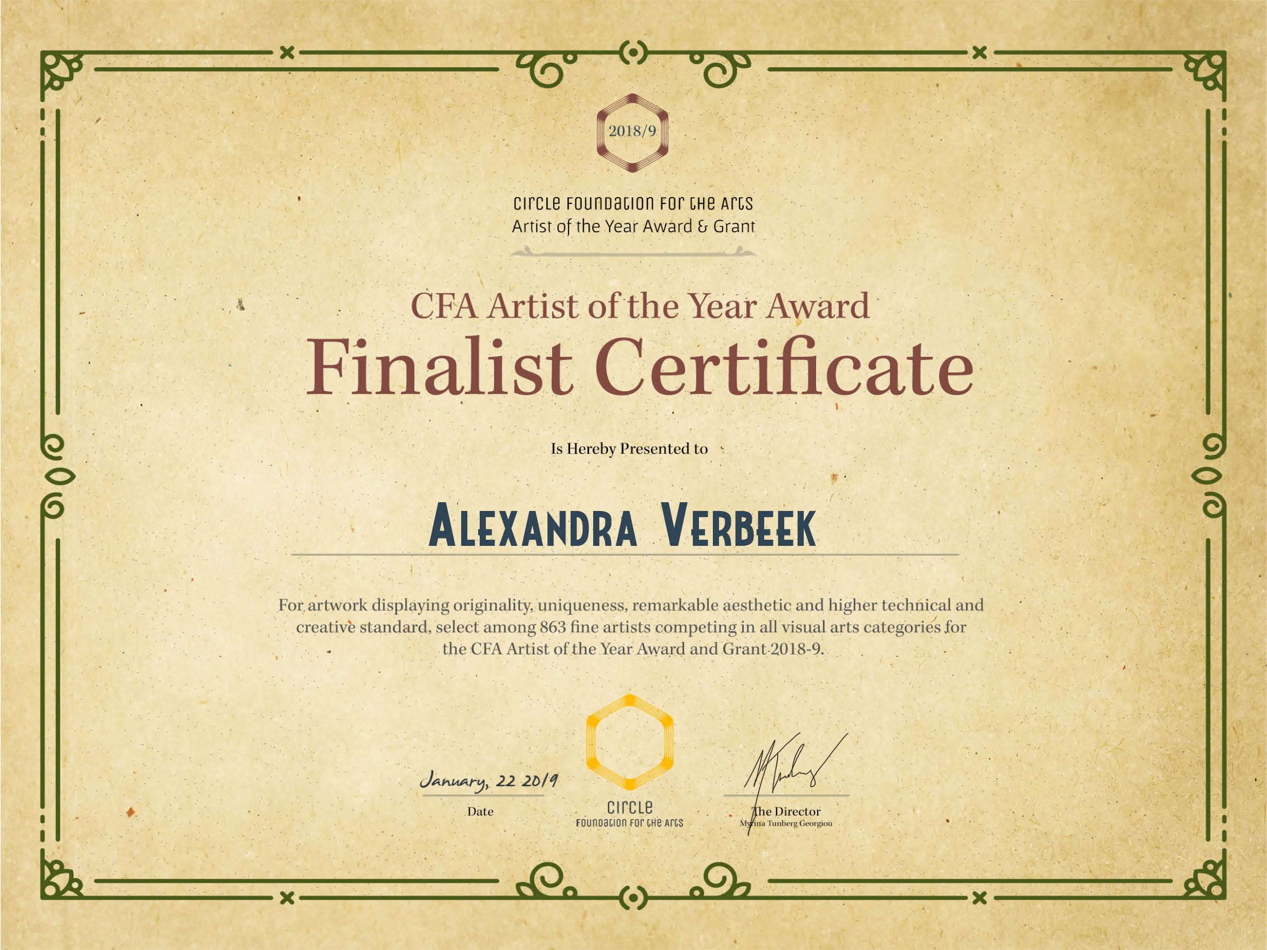 ArtistOfTheYear-Certificate-Alexandra Verbeek
