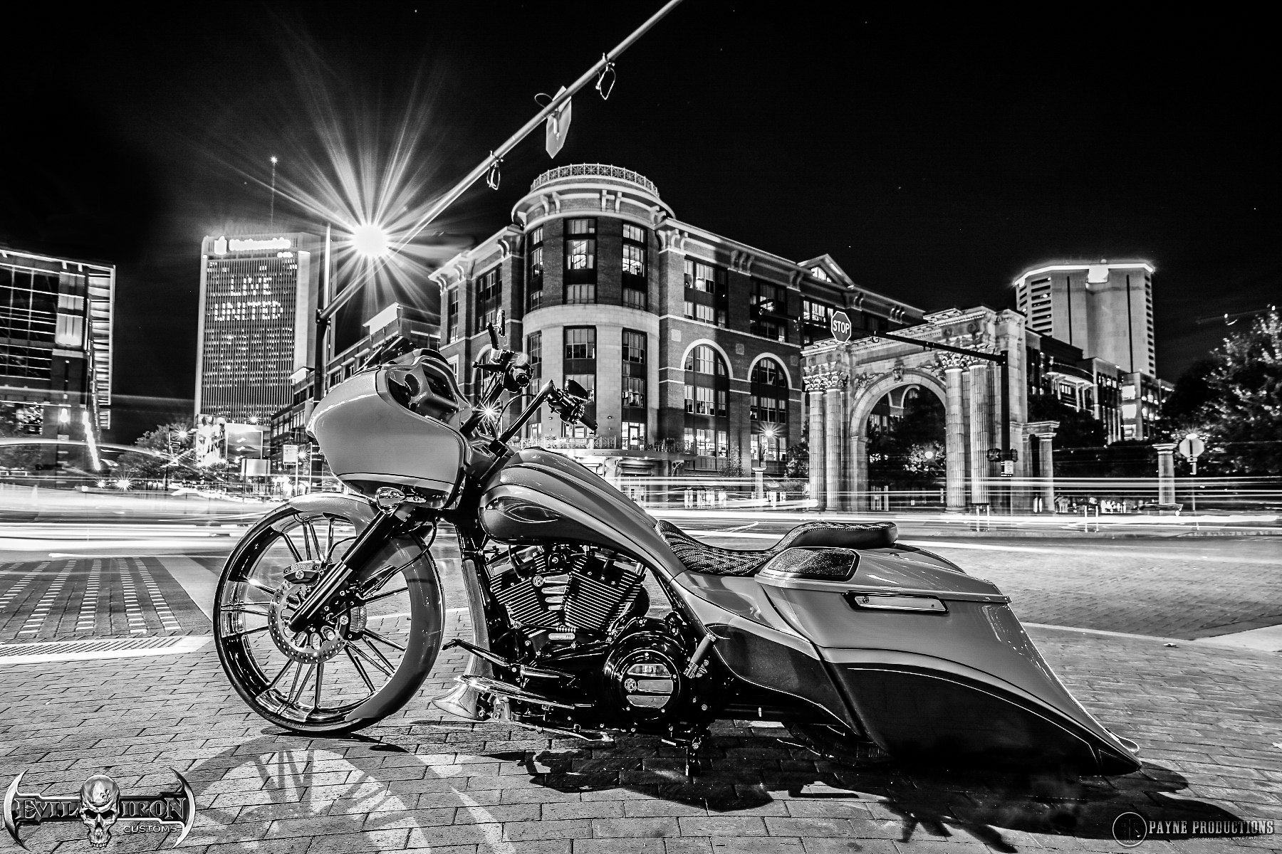 EVIL GOOSE: AWARD WINNING BAGGER BUILT BY EVIL IRON CUSTOMS.  PHOTO SHOT IN THE ARENA DISTRICT IN DOWNTOWN COLUMBUS, oh