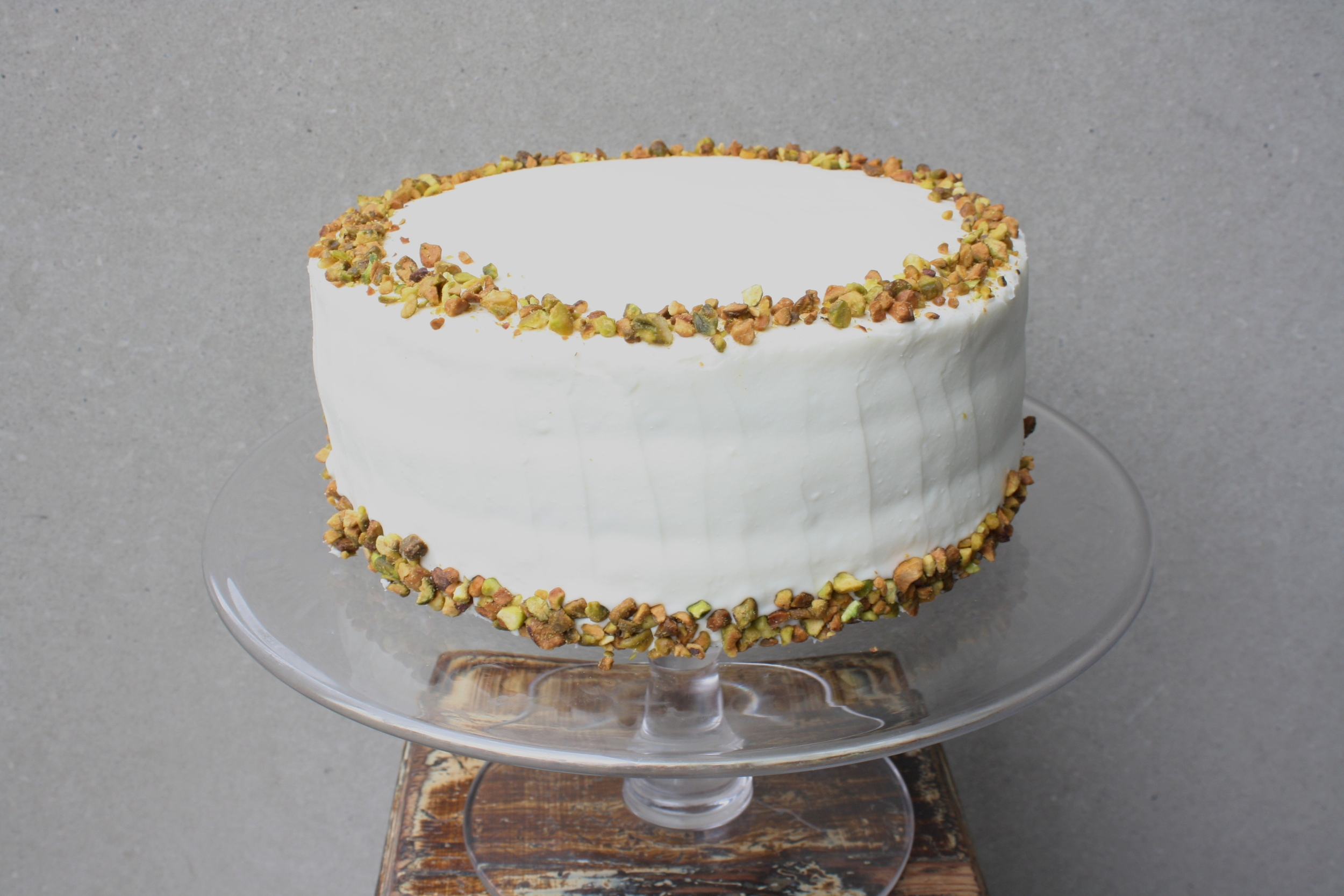 red velvet pistachio  a southern classic with a twist: our red VELVET is layered with minced pistachios and finished with a delicate mascarpone icing