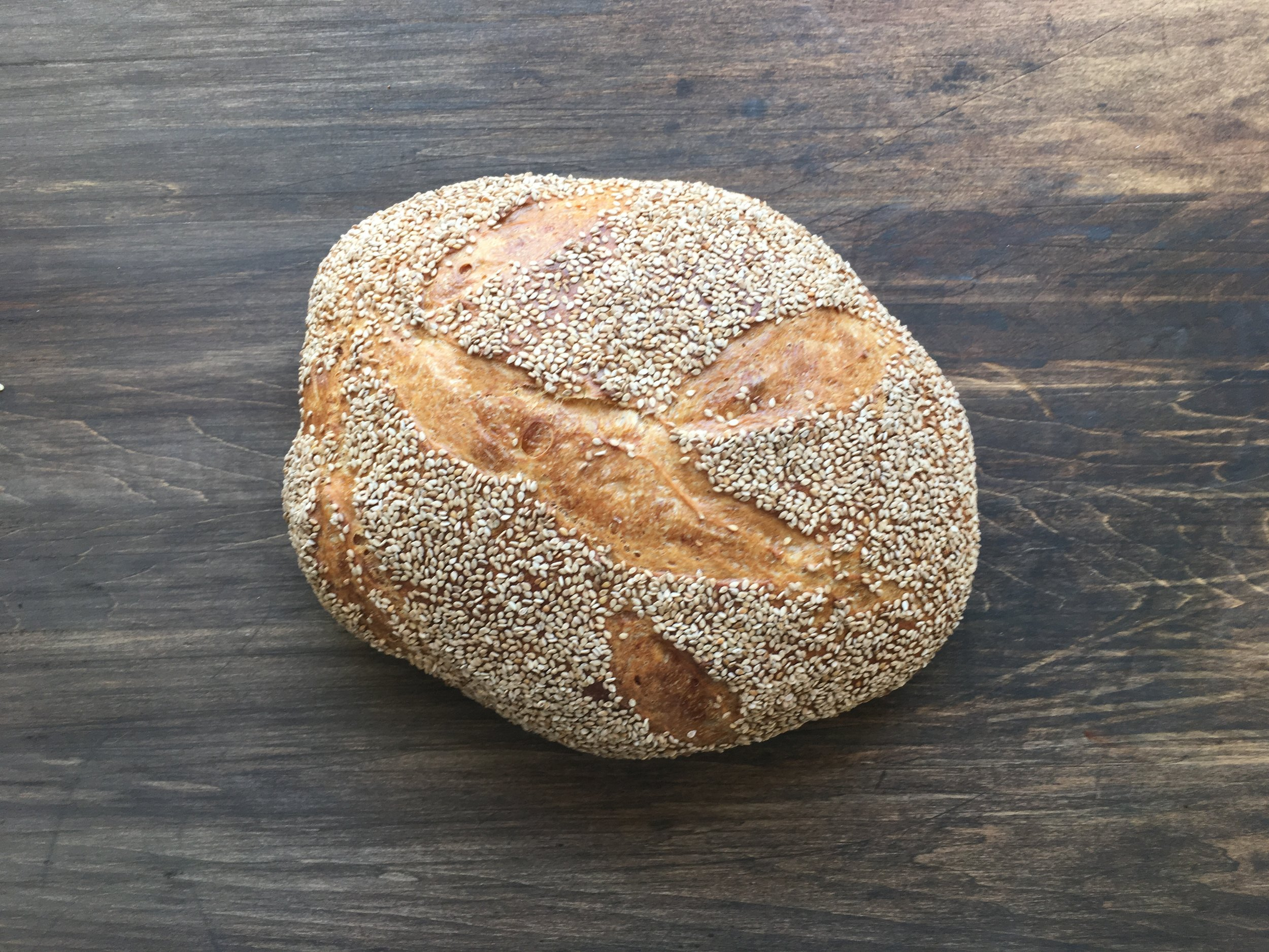 sesame semolina - The carotenoids in semolina give this light but flavorful bread both nutritional benefits and a gorgeous golden color.saturdays$5.75