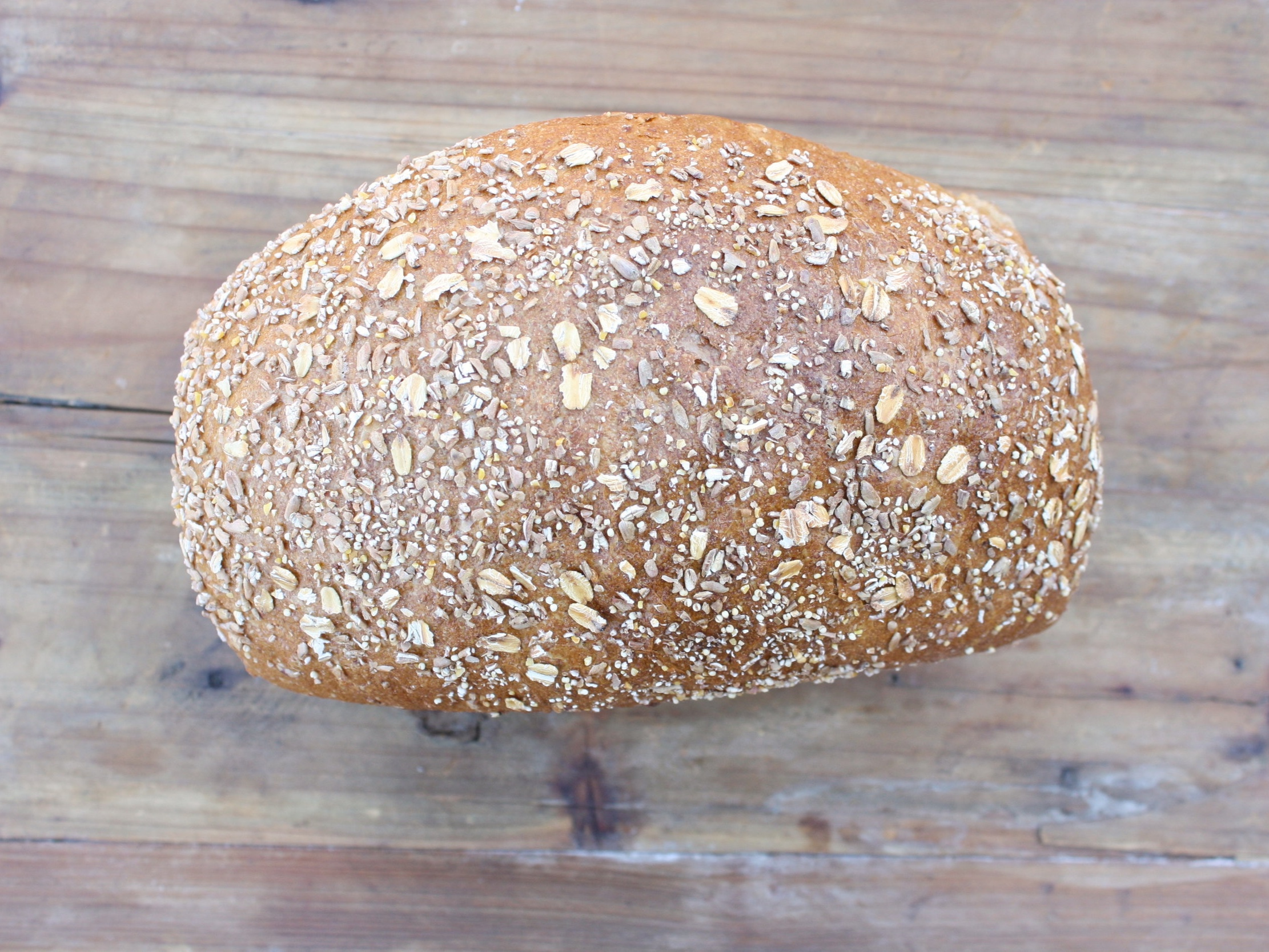 multigrain - a soft sandwich bread made with seven grains.mon., tues., wed., thurs., & fri.ingredients: bread flour, whole wheat flour, cracked wheat, oat flakes, rye, hulled millet, corn grits, spelt, flax seeds, molasses, water, yeast, salt. vegan$4.99