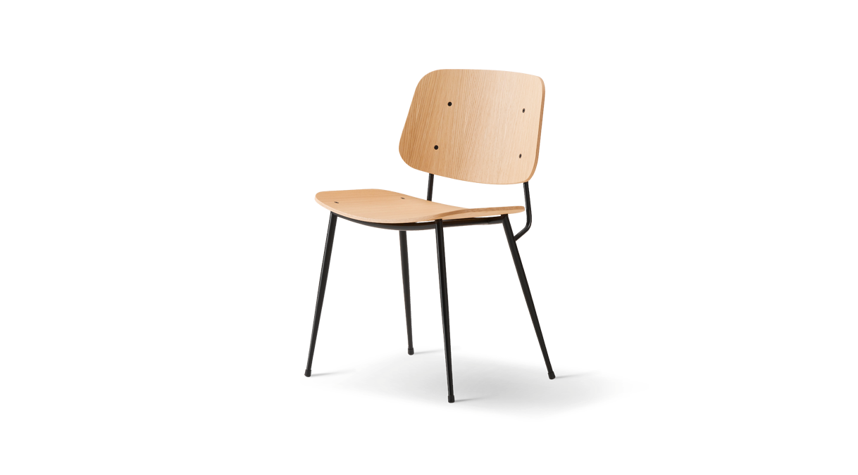 FREDERICIA Søborg Chair - Steel frame   Tammi, musta lakattu tammi, öljytty tammi, savutammi, musta/krominen metallirunko I Alk. € 543