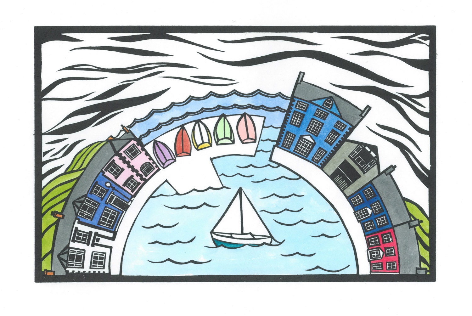 Aberaeron and the Habourmaster Hand coloured linocut