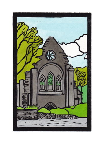 Llangollen Valle Crucis Abbey Hand coloured linocut