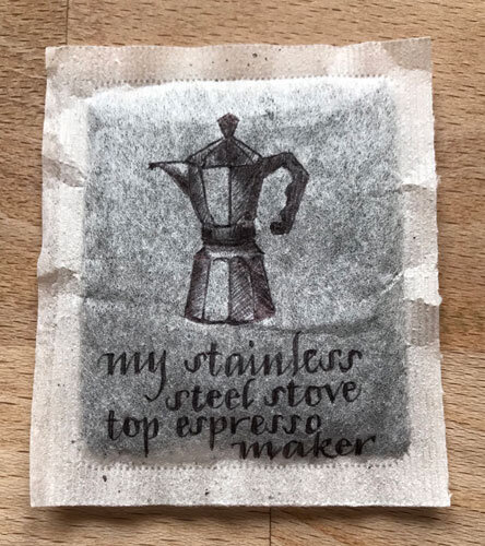 My first drawing on a teabag!