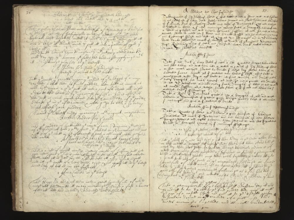By Mrs Anne Brumwich (and others) with many additions, by several later 17th cent. hands. Title: Booke of Receipts or Medicines ffor severall sores and other Infermities.  Credit: Wellcome Collection