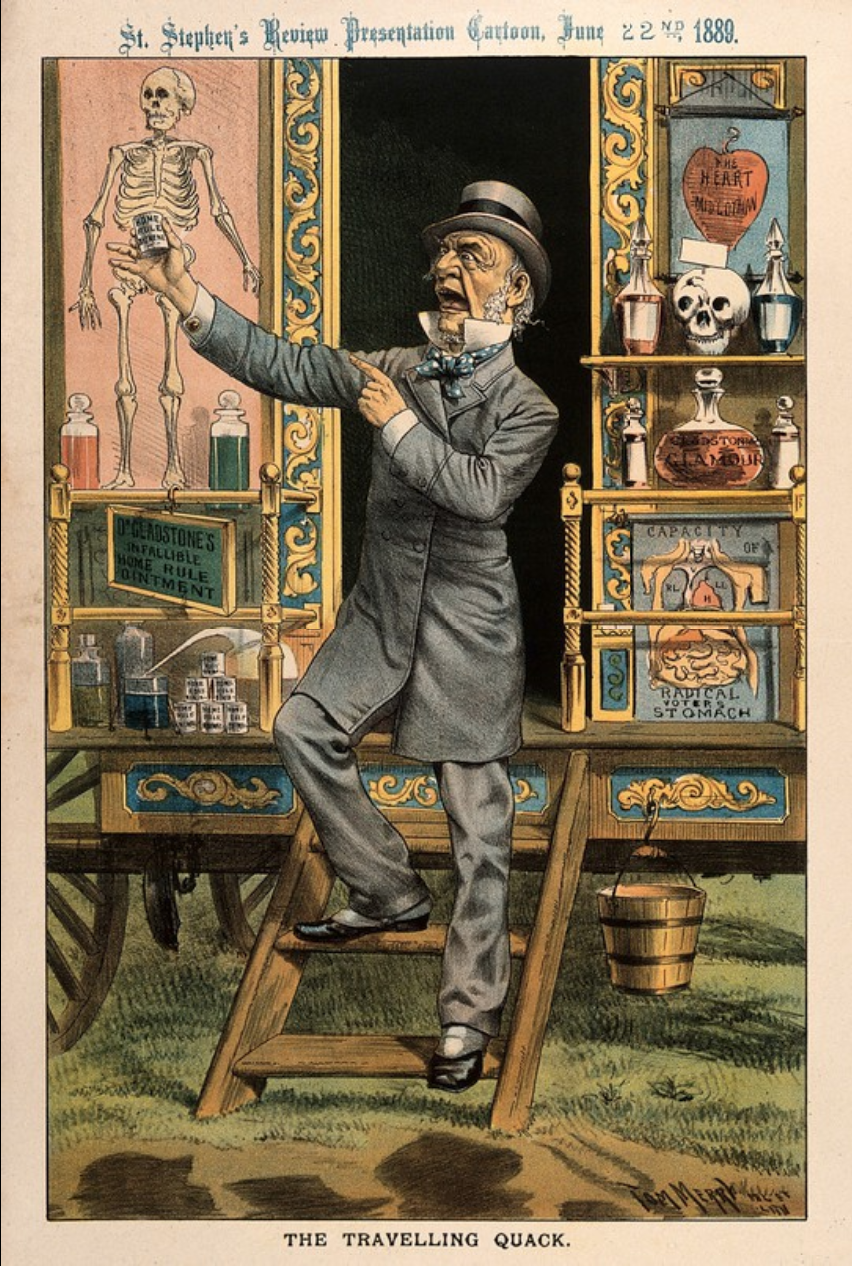 A quack doctor selling remedies from his caravan; satirizing, by Tom Merry, 1889 Credit: Wellcome Collection