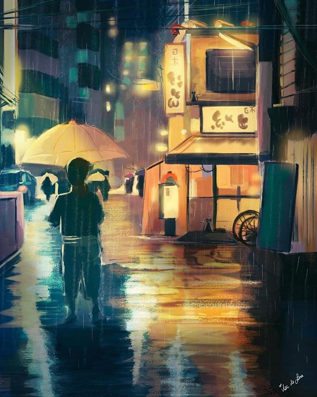 "Rainy weekend vibes courtesy of @delara_art - Featured ""Rain city"", digital sketch. . . . #raincity #doodle #sketch #city #rain #storytelling #conceptart #artistsofinstagram #instaart #digitalart #artistsoninstagram #art_spotlight #dailyart #artist #art #illustration #digitalpainting #painting"