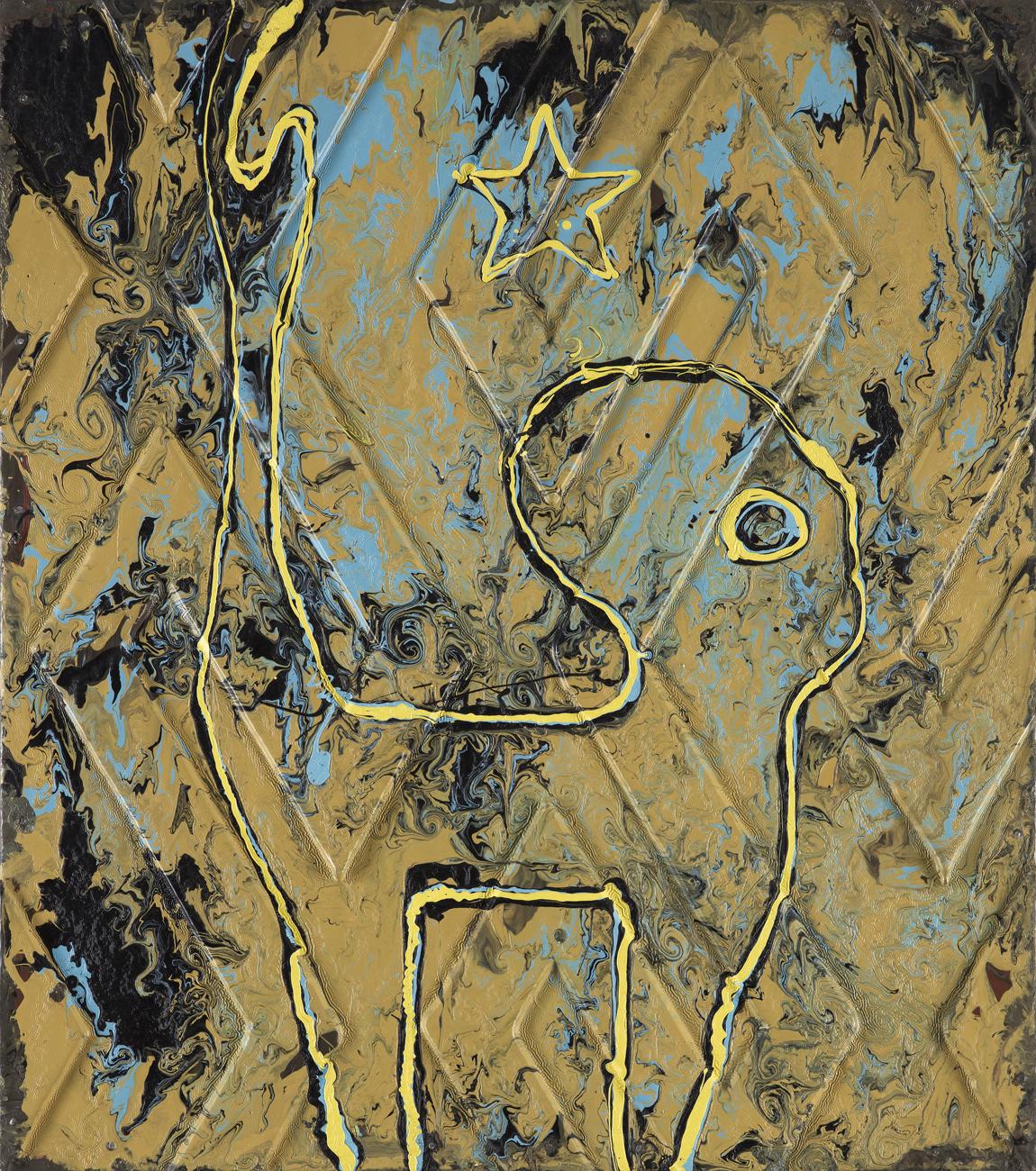 Anders A  Separat - ute i skogen  1987 Paint on panel 70 x 61,5 cm
