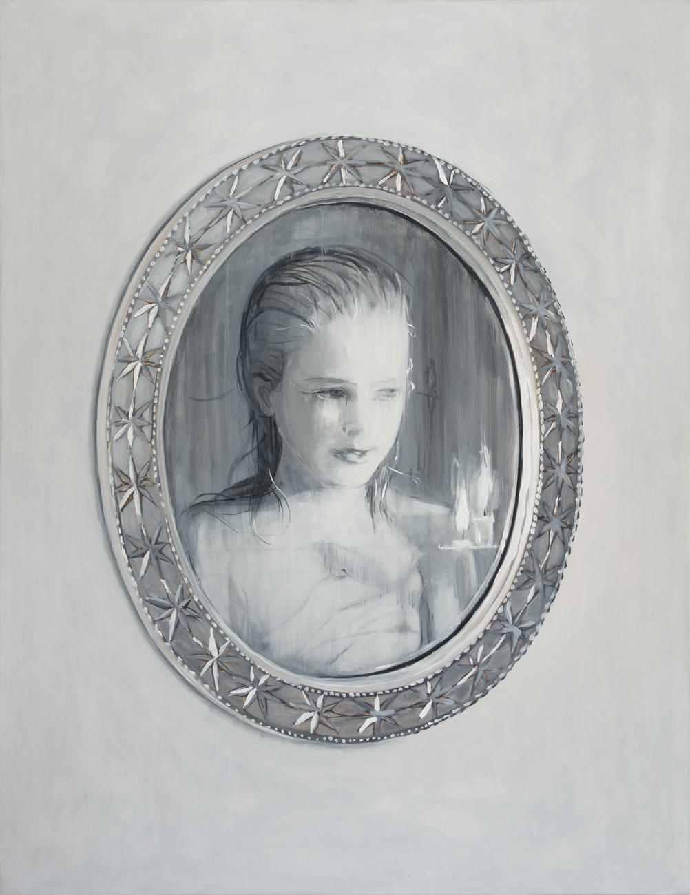 Ylva Ogland  Ylva/Mirrored Ylva  2007-8 Diptych, oil on canvas 100 x 150 cm, respective 88 x 67 cm