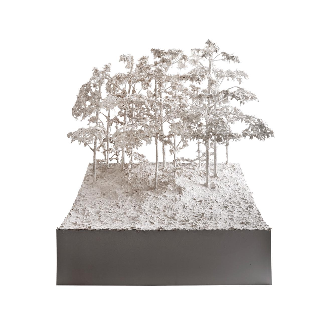 Tomas Gilljam  Dead Calm, Rude Nature  2008 Papier-Maché 183 x 76 x 86 cm inc. glass cube and plinth