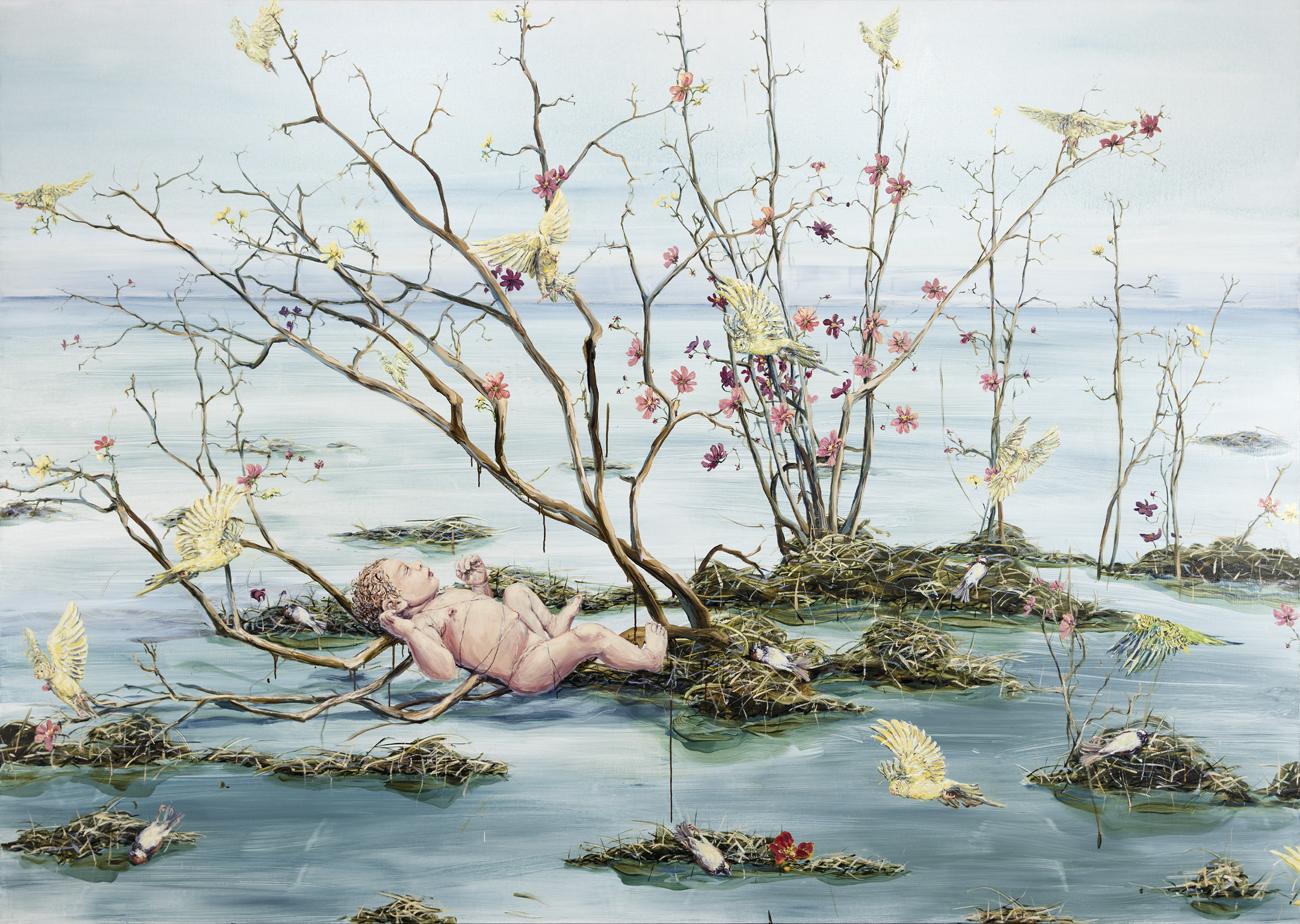 Linn Fernström  Barnet vid vattenytan  2006 Oil on canvas 170 x 240 cm