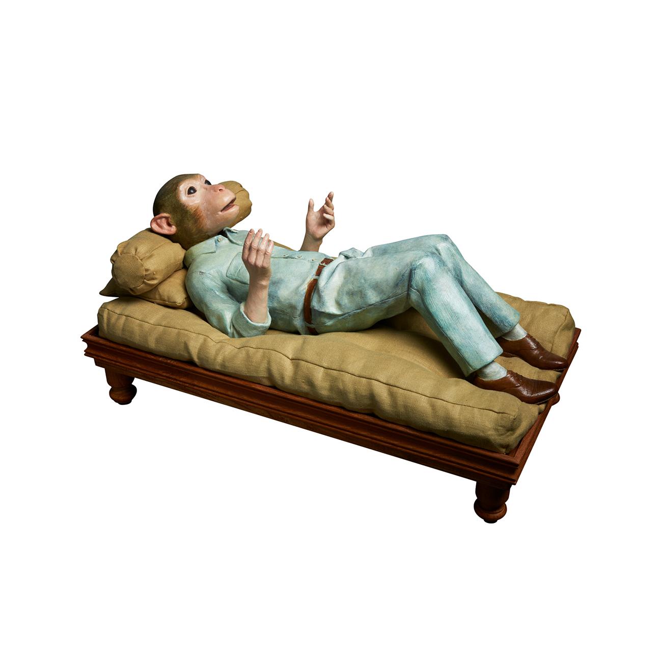 Lotta Hannertz  Monkey Mind  2014 Bronze sculpture and mixed media, 6/8 30 x 60 x 30 cm