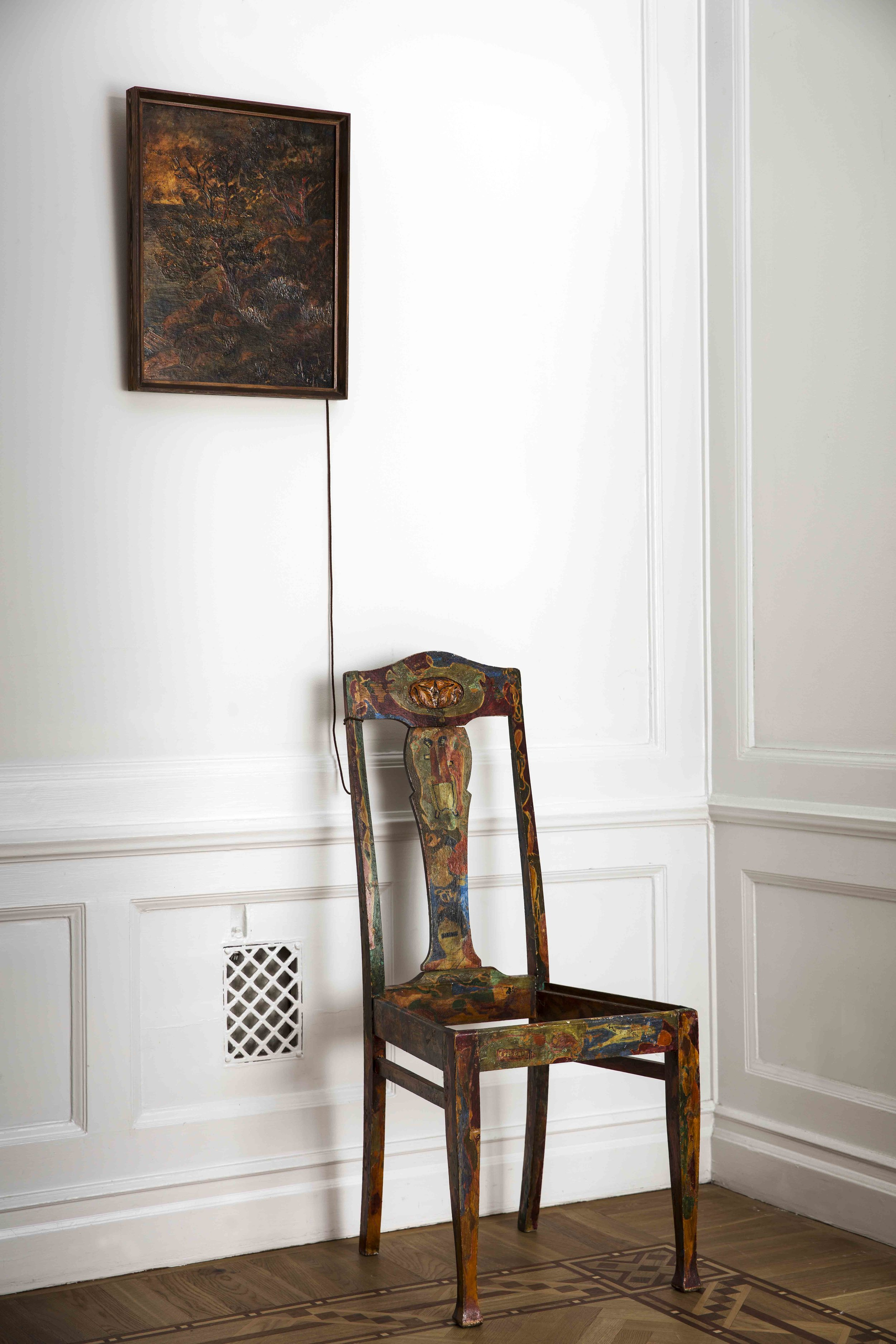 Dick Bengtsson  Stol II  1964 Installation with painting and chair 105 x 43 x 35 cm Painting 50 x 40 cm