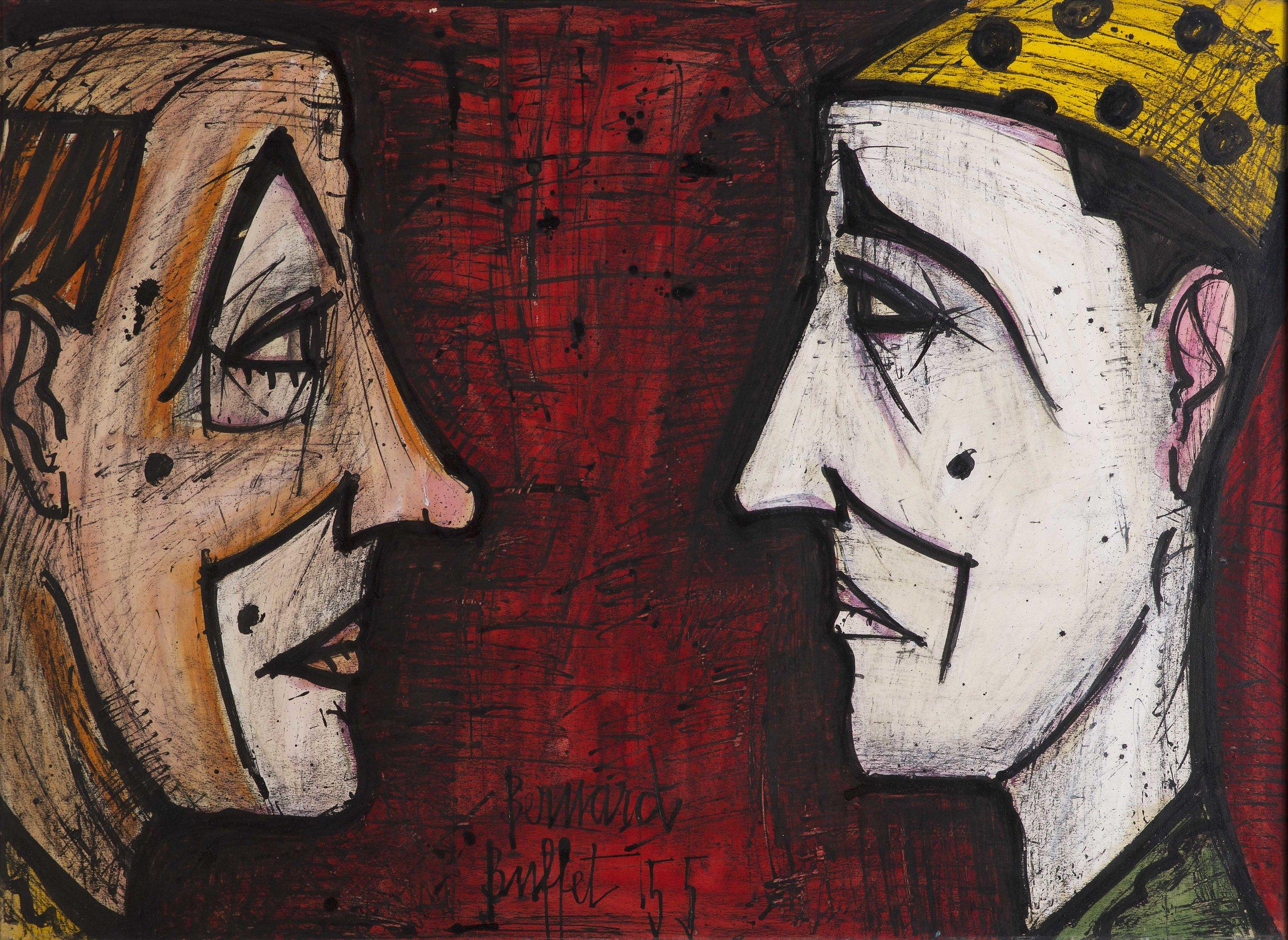 Bernard Buffet   Two clowns  1955 Mixed technique on paper 55,5 x 76,5 cm