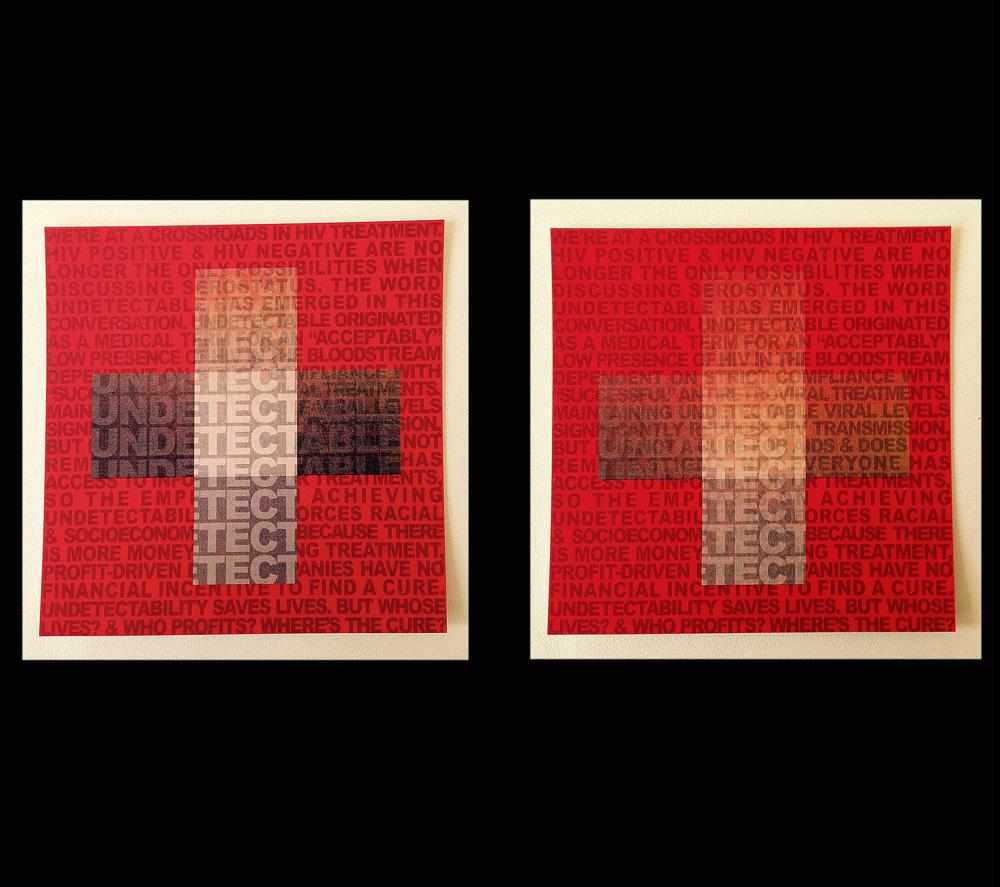 Avram Finkelstein   Undetectable  2014 Lenticular print 91,44 x 91,44 x 0,15875 cm