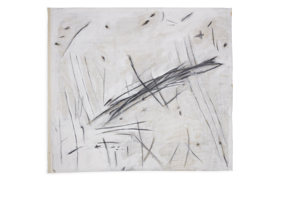 Avram Finkelstein   Untitled 2  2013 Canvas, newsprint, ceiling white, graphite 137,16 x 152,4 cm