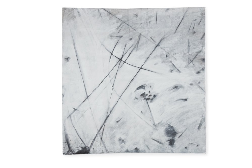 Avram Finkelstein   Untitled 4  2013 Canvas, newsprint, ceiling white, graphite 142,24 x 137,16 cm