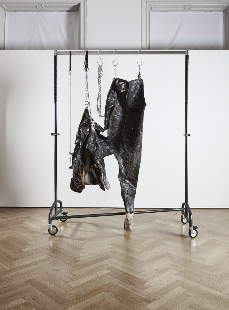 Vincent Tiley with Hunter Reynolds   Knast  2016 Acrylic on neoprene body suit with clothing rack and hardware 2,44 x 1,83 x 0,91 m