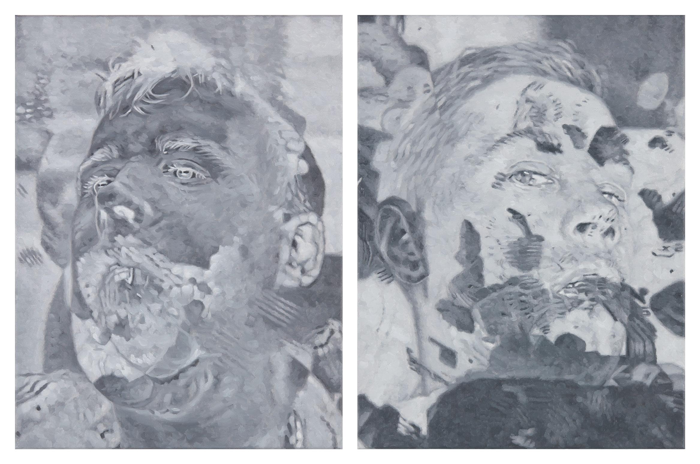 Tomas Lundgren   part (2a-b)  2015-16 Oil on canvas 31 x 41 cm, 2 parts