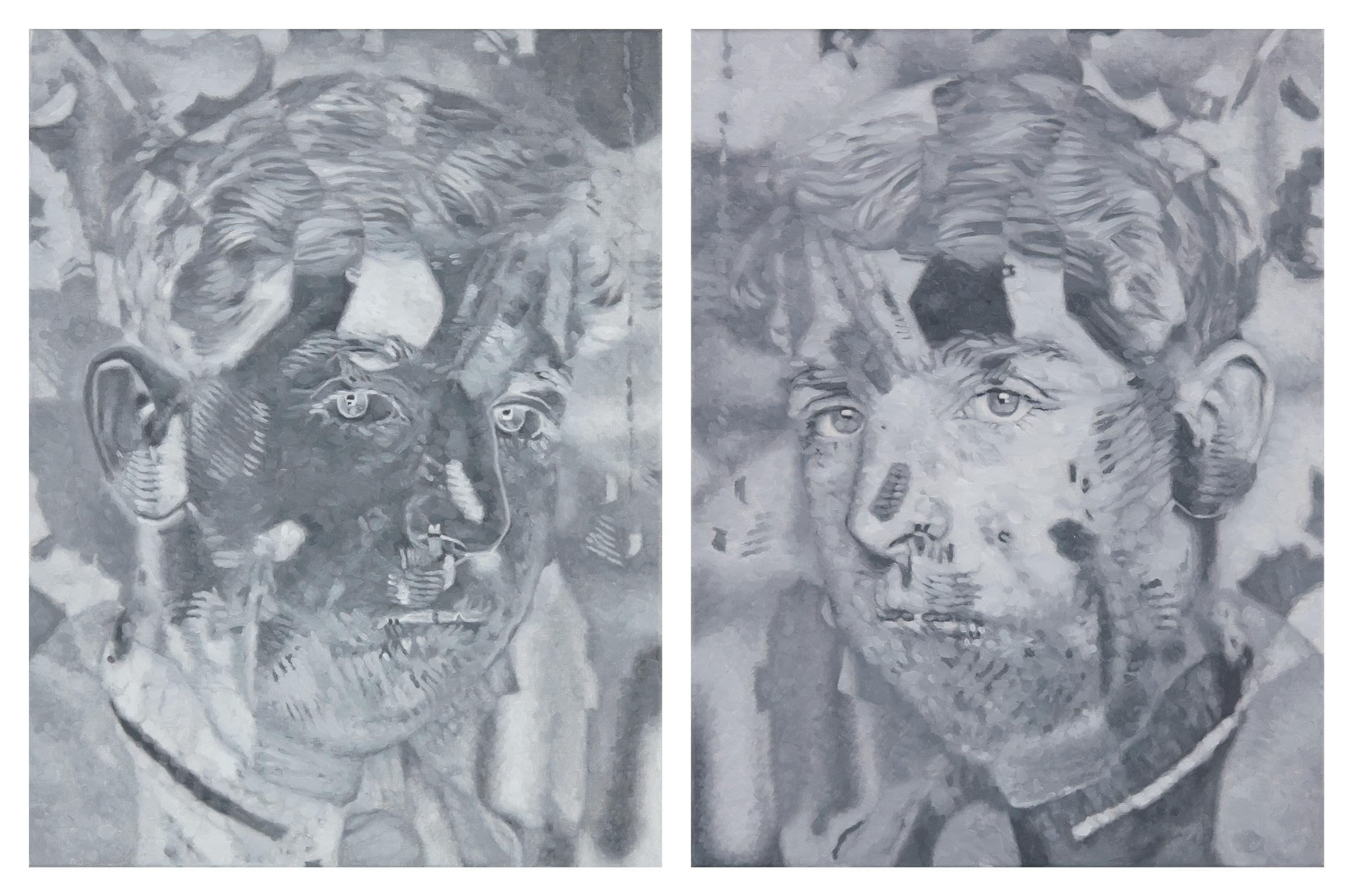 Tomas Lundgren   Apart (4a-b)  2015-16 Oil on canvas 31 x 41 cm, 2 parts