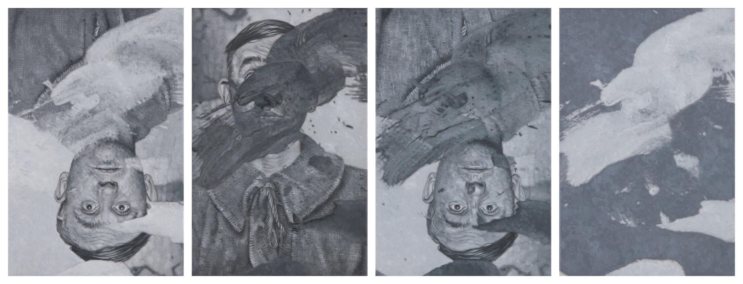 Tomas Lundgren   Concealed  2016 Oil on canvas 27 x 41 cm, 4 parts