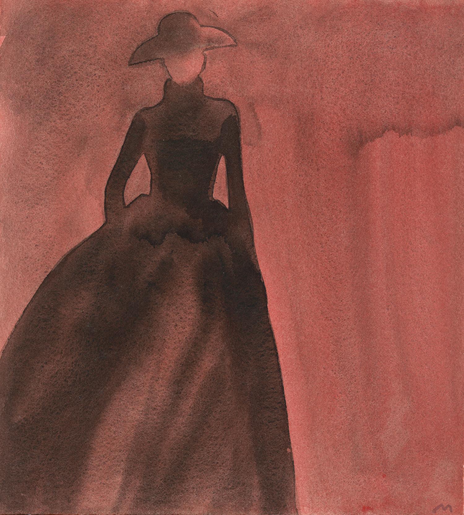 Mats Gustafson   Silhouette (Long skirt, hat)  For Yohji Yamamoto 1997 Watercolor 38 x 34 cm
