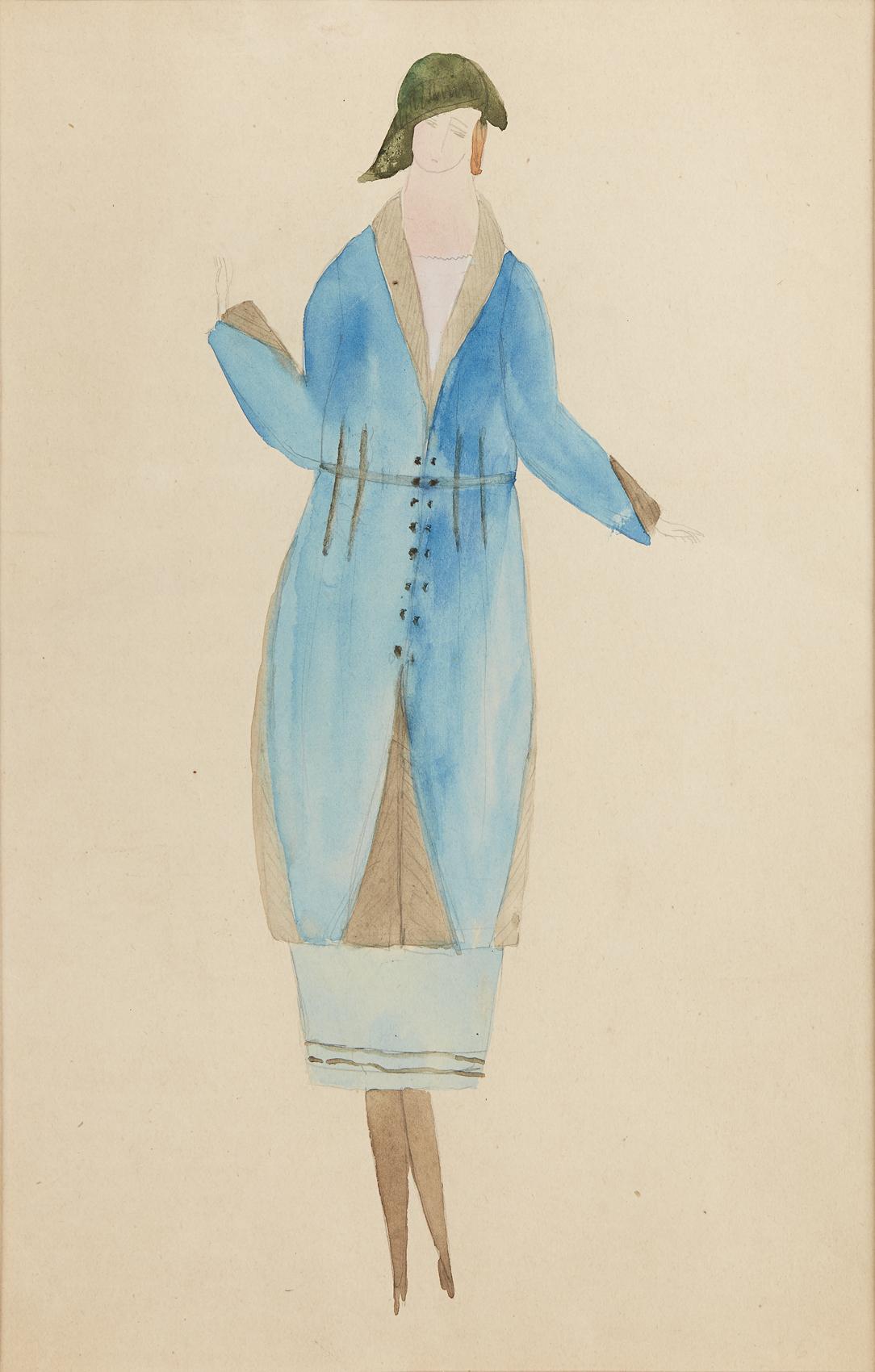 Siri Derkert   Blå kappa och kjol med detaljer i grått fårskinn  1917-21 Watercolor 29 x 19,5 cm