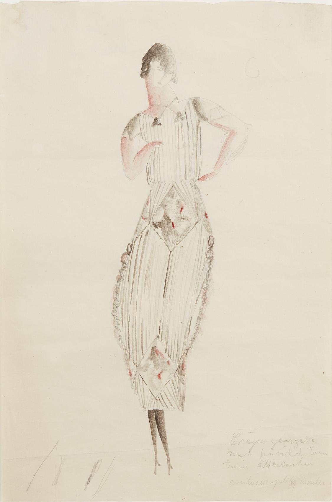 Siri Derkert   Plisserad klänning med rombdekor  1917-21 Watercolor 29,5 x 19 cm