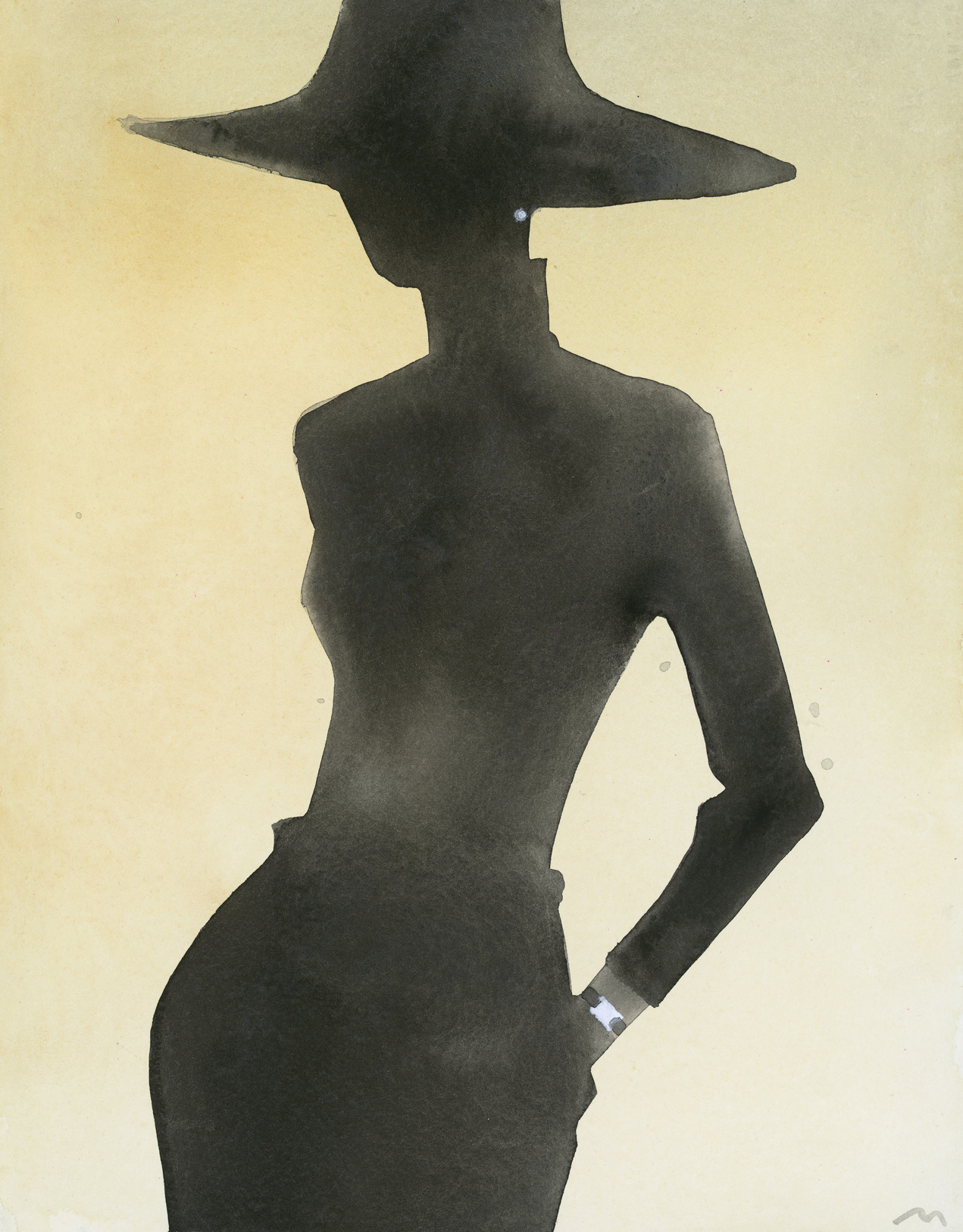 Mats Gustafson   Silhouette (With hat, watch)  For Tiffany & Co 2005 Watercolor 36 x 28 cm