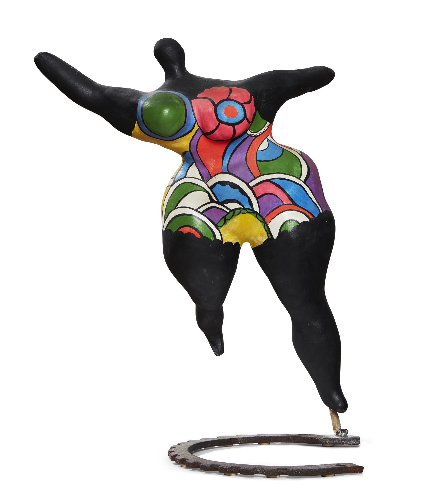 Niki de Saint Phalle    Nana moyenne danseuse  1970 Unique Painted plaster on metal base by Jean Tinguely Height 56 cm