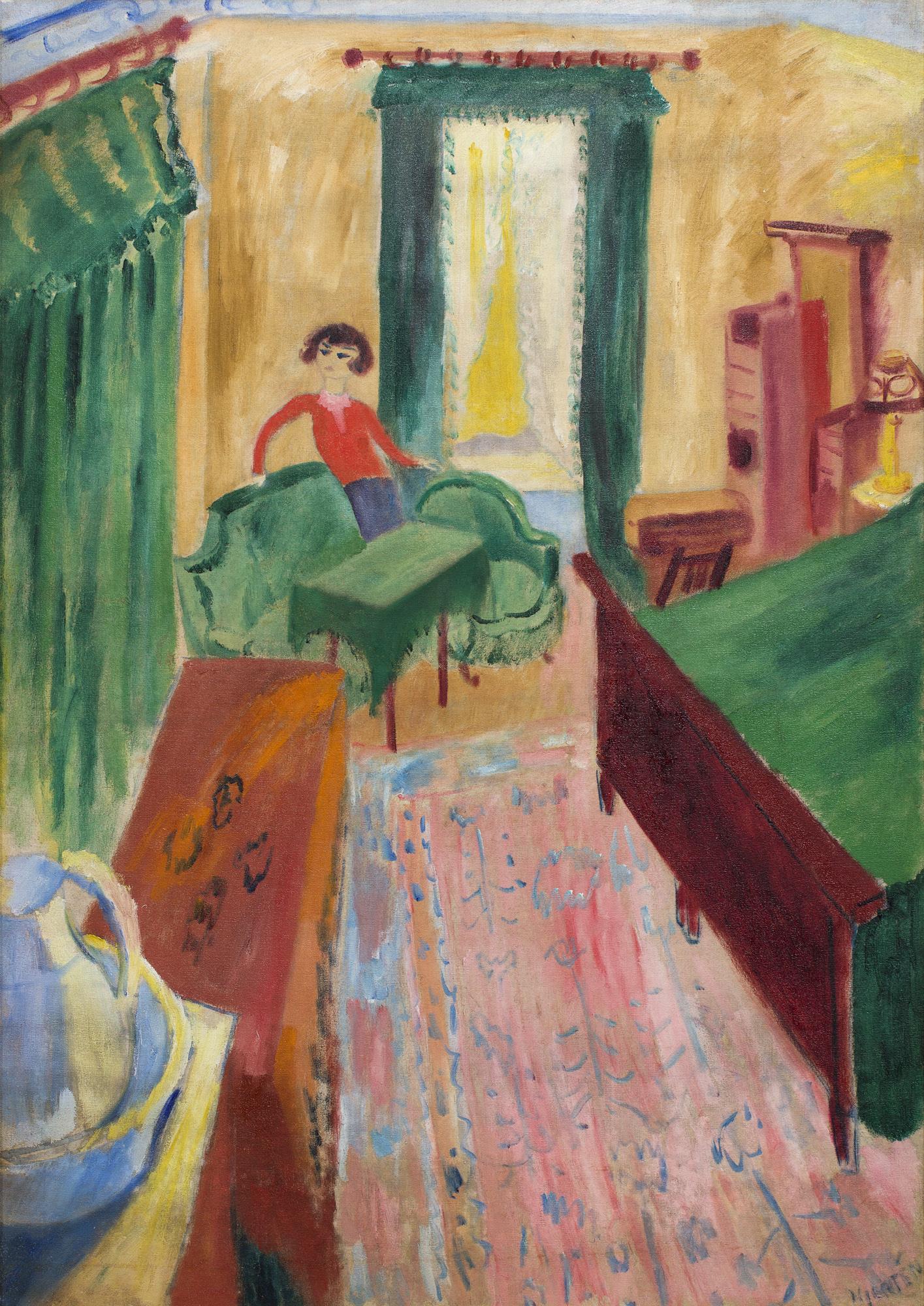 Sigrid Hjertén   Interiör – Iván i grön soffa  1915 Oil on canvas 97 x 69 cm
