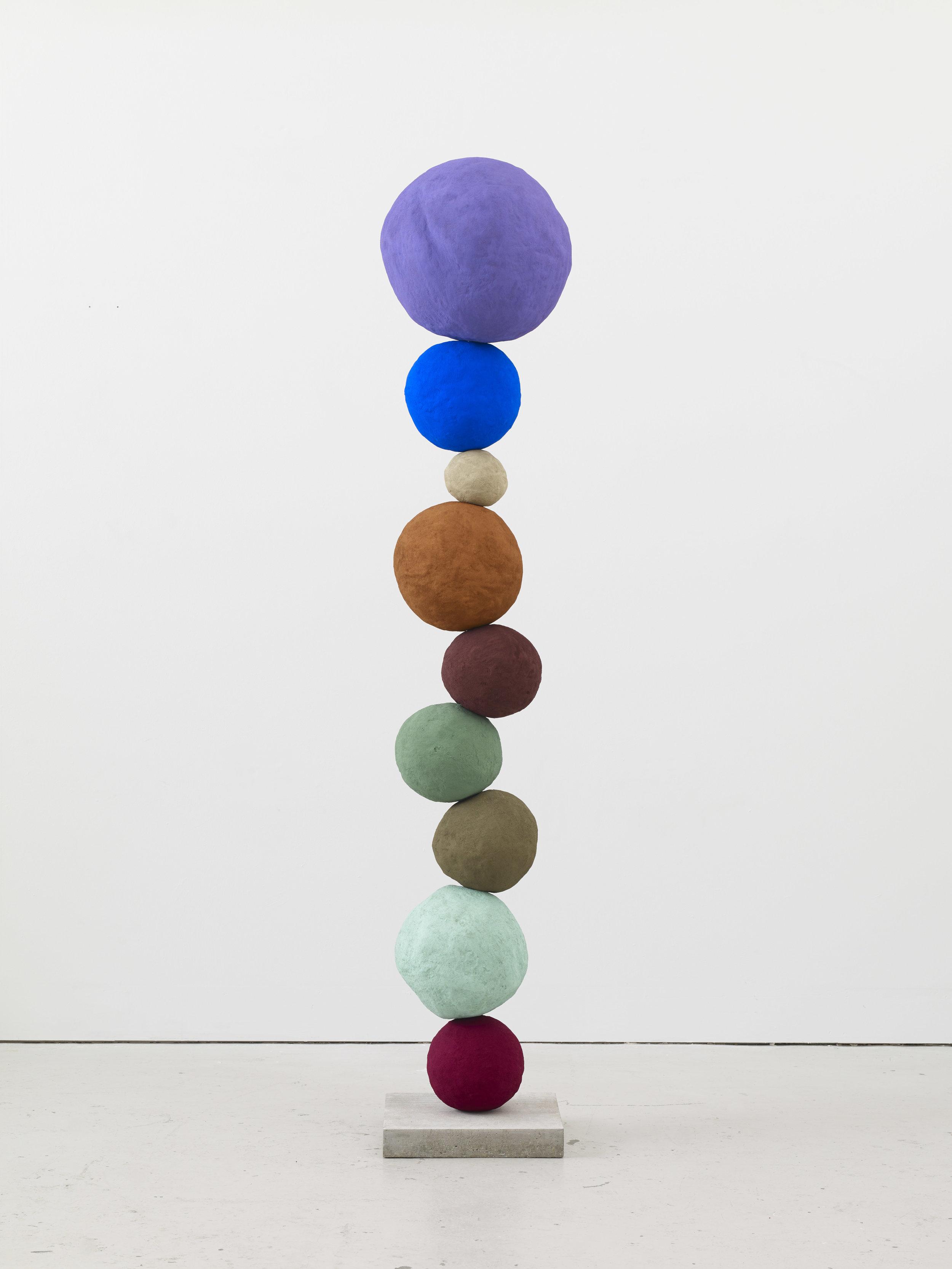 Annie Morris   Stack 9, Studio Violet  2017 Foam core, pigment, metal, concrete, plaster and sand. Unique work 209 x 40 x 40 cm