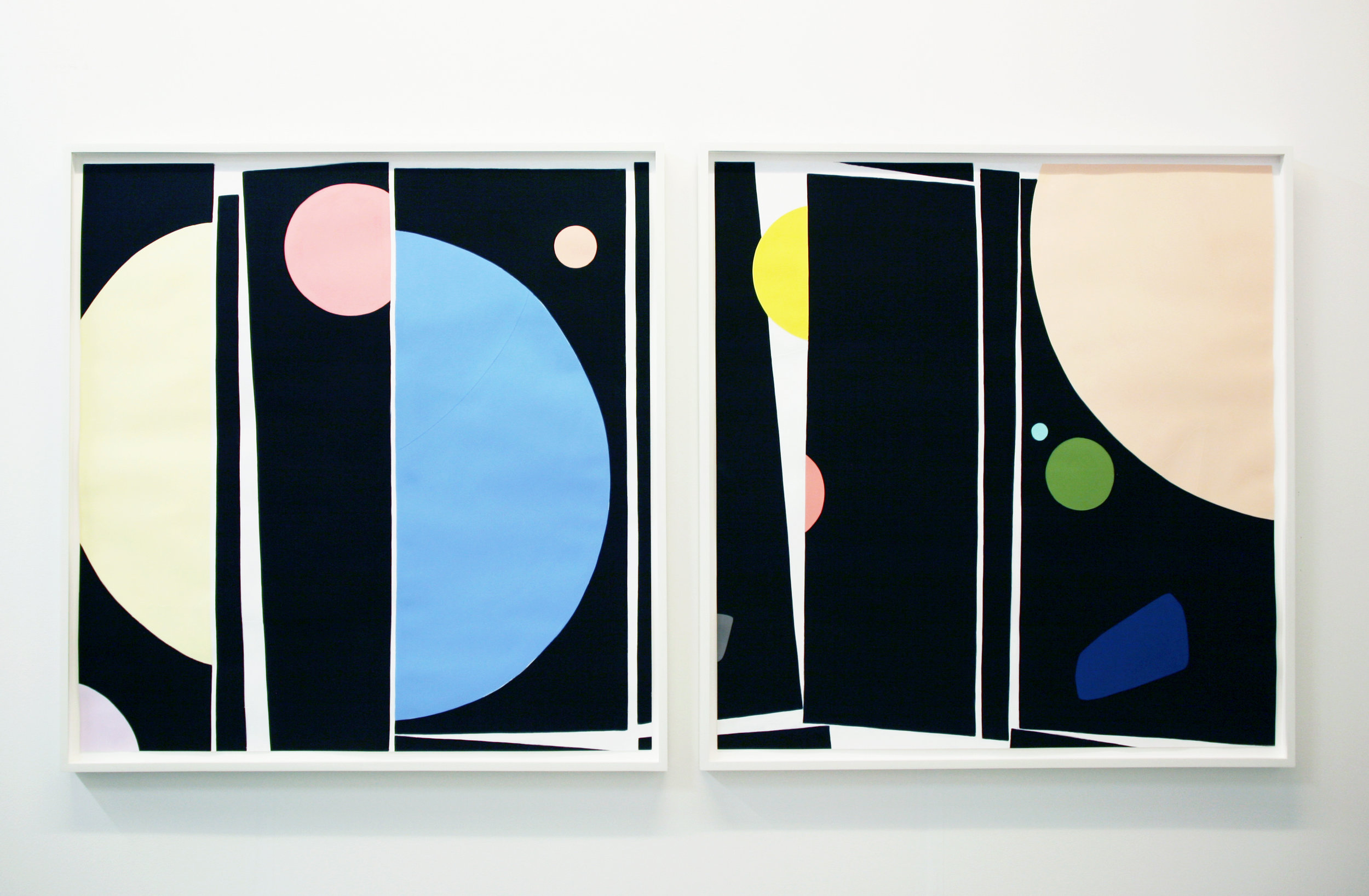 Scott Treleaven   In Whatever Way Tames Whomsoever  2017 Gouache, acrylic and panel collage on paper 105,5 x 105,5 cm each. Diptych