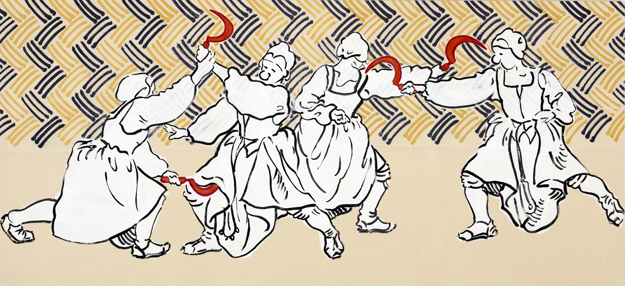 Sigrid Holmwood   Peasants practising fighting with sickles  2017 Madder, cochineal, ink and gesso on calico mordant-printed with logwood and dyer's broom, on board 110 x 240 cm