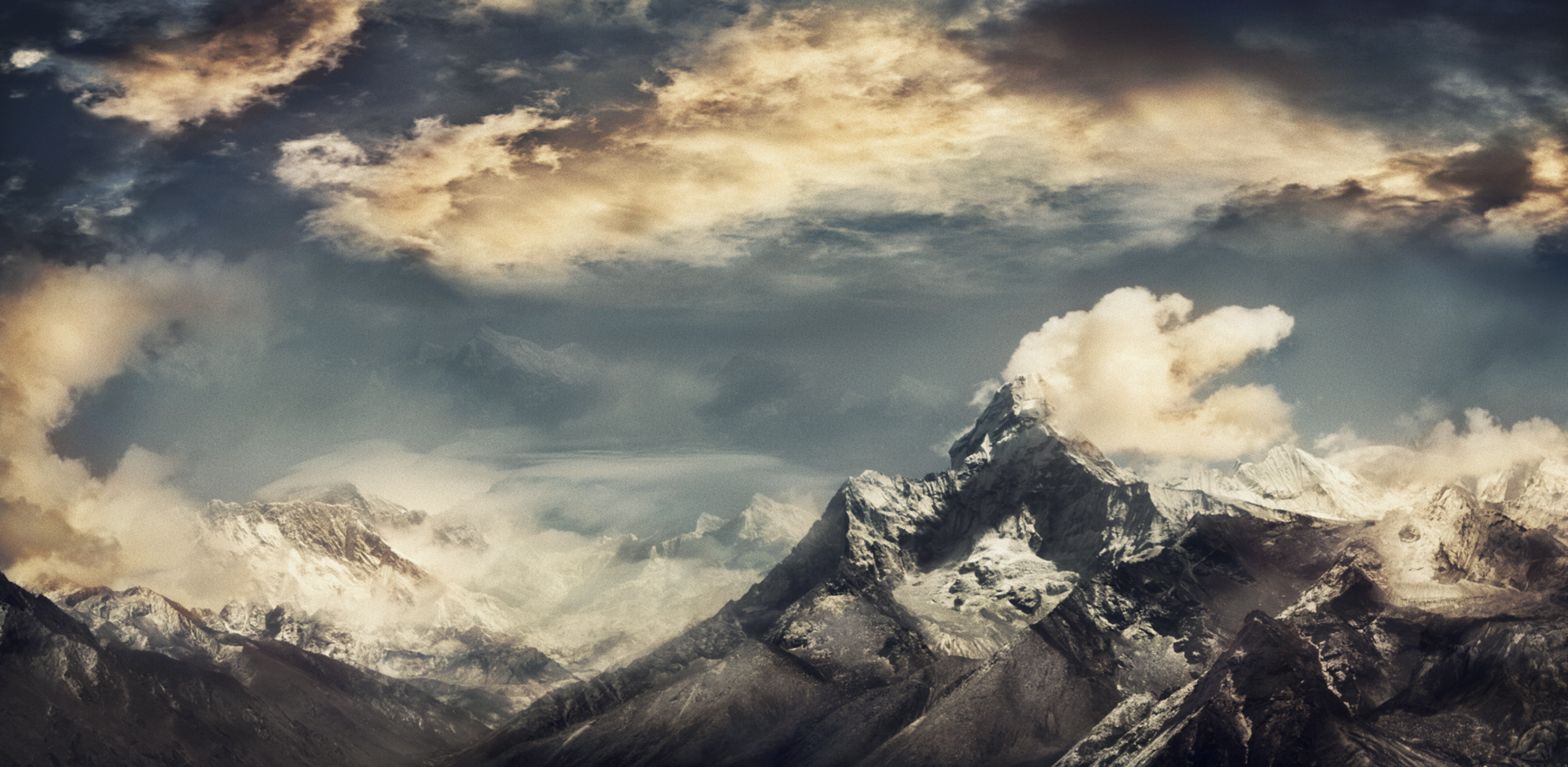 Jacob Felländer Five to the left There´s a house in the clouds where you get to dine with the Gods Lovers usually live there a year or two before moving out Ama Dablam, Himalaya, 2016 Archival Pigment Print 90 x 190 cm Edition 3+1