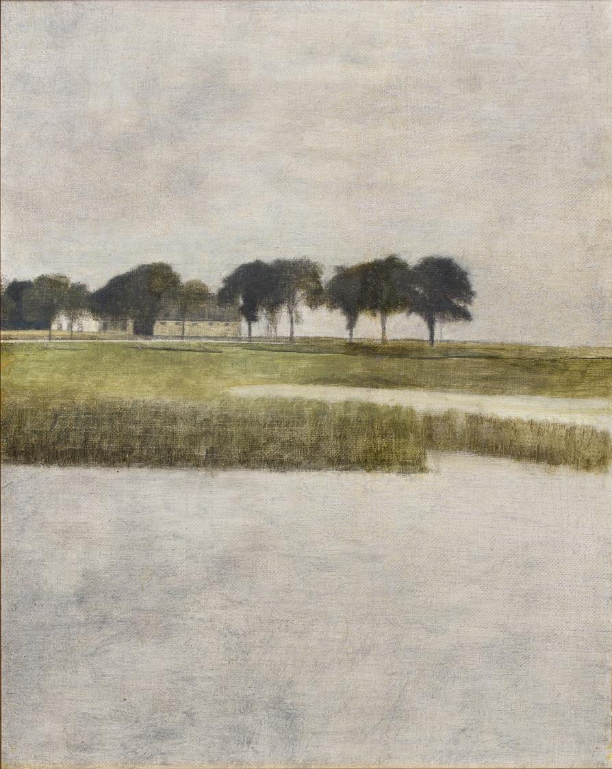 Vilhelm Hammershöi   Landskap, Gentofte  1903 Oil on canvas 34 x 26 cm