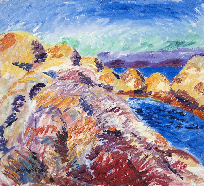 Inge Schiöler   Klippig västkust  Oil on canvas 74 x 81 cm Hjorthén nr 1038