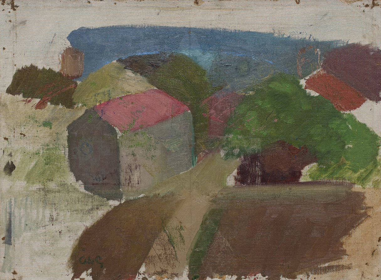 Åke Göransson   Hus i Landalabergen  1925/1927 Oil on canvas 28 x 38 cm