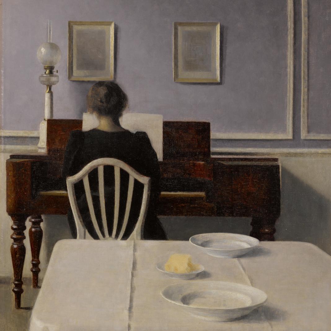 Vilhelm Hammershöi, Interior With Woman at Piano, Strandgade 30, 1901