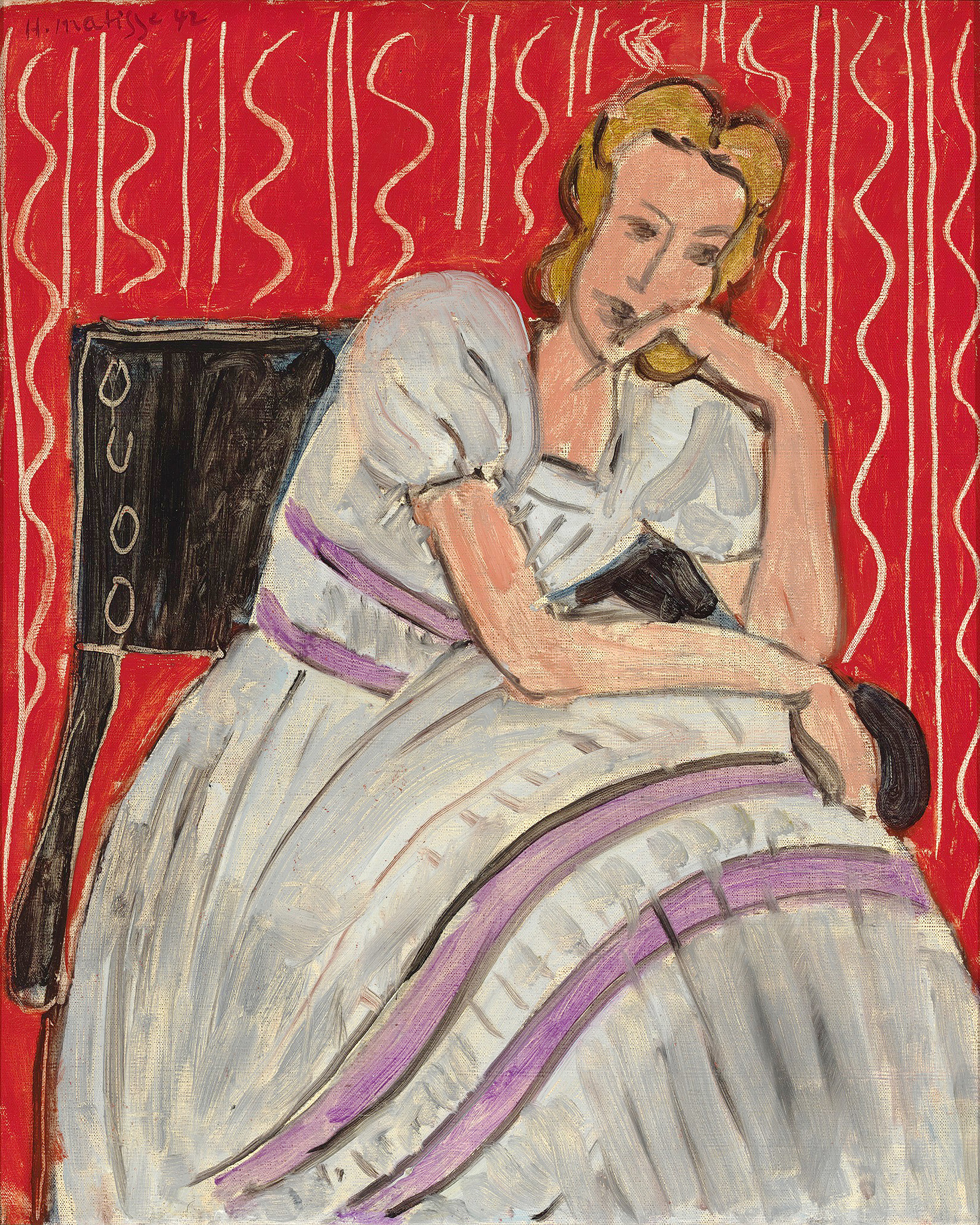Hammer Galleries:Henri Matisse, Jeune femme assise en robe gris, 1942