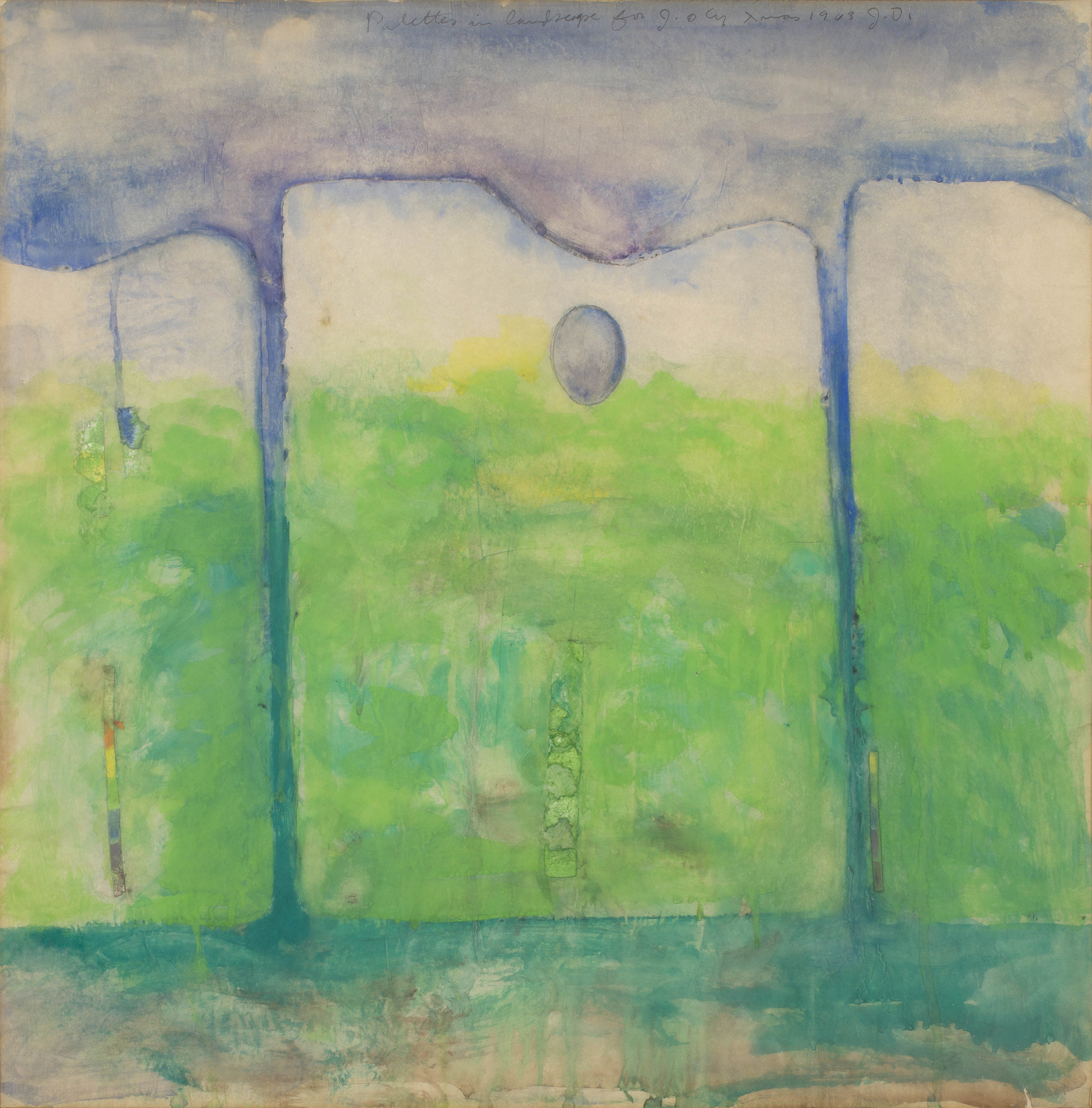 Jim Dine   Palettes in Landscape  1963 Signed with initals, titled, dated and with dedication 'for J. & Cy Xmas 1963' Watercolour, graphite and paper-collage on thin paper 60 x 59 cm