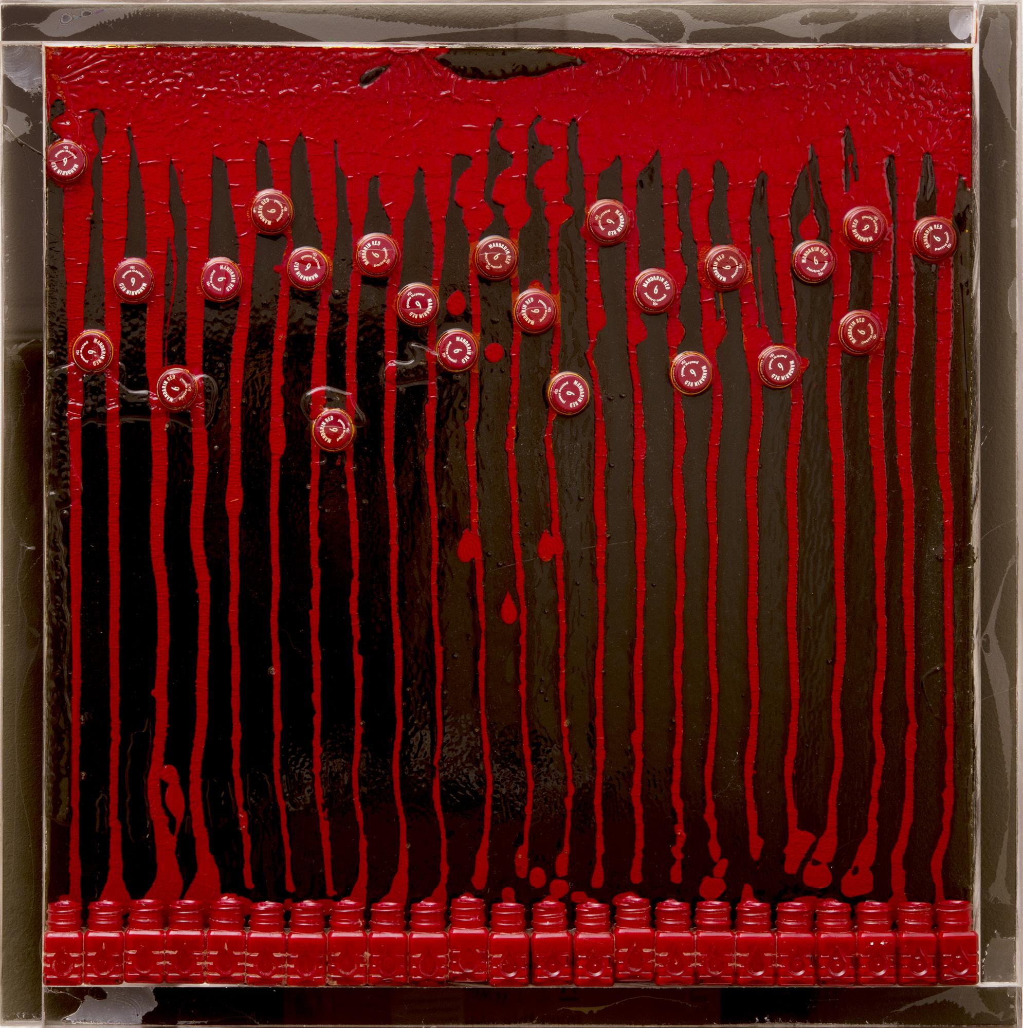 Fernandez Arman   Untitled (Mandarin Red)  1968 Accumulation of acrylic paint, paint bottlesand caps in resin on Plexiglas 61 x 61 cm