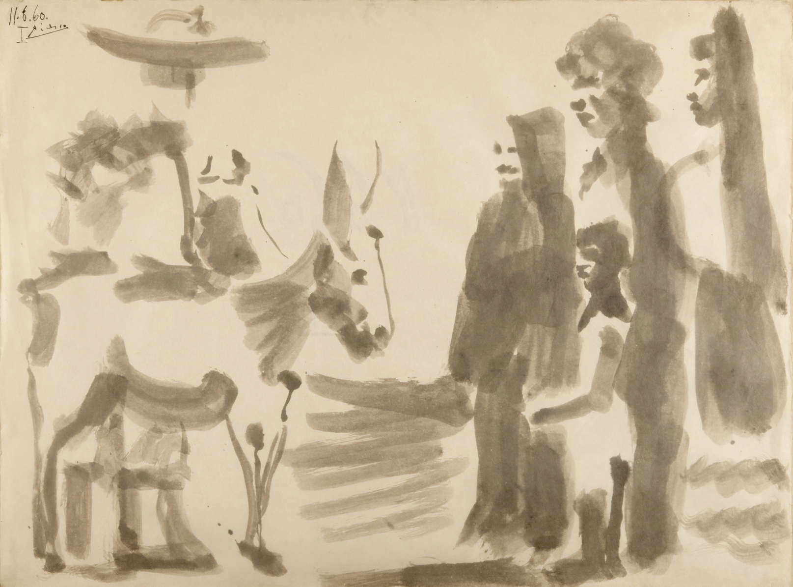Pablo Picasso   Scène Villageoise  1960 Signed Picasso and dated 11.6.60 I Inkwash 57 x 76,5 cm