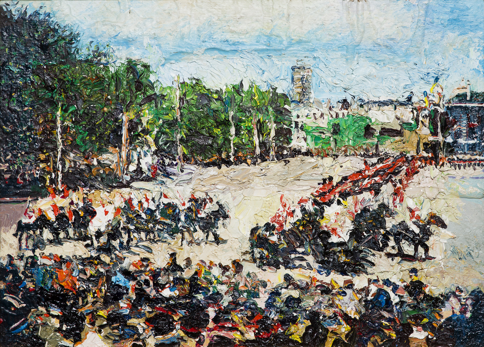 Malcom Morley    Changing of the Guards at Buckingham Palace  1970-71 Oil on panel 33 x 45 cm